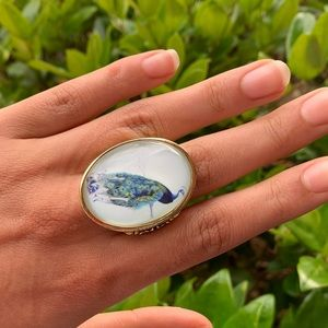 JEWELMINT gold plated blue peacock ring size 7